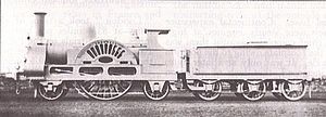 Crewe type (locomotive) - 'Crewe' type' 2-2-2 locomotive Cornwall as modified 1858