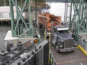Logging truck - Image: Logging truck Shaw Island ferry dock 01