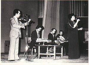Loghman Adhami - Loghman Adhami performing with the renowned Iranian singer Hayedeh in the 1970s in Iran.
