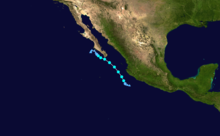 A map depicting the track of a tropical storm that paralleled the coastline of Mexico in early September.