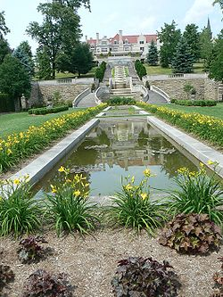 "The main house, cascades, and gardens of ""Immergrün"", Charles M. Schwab's retreat in Loretto"