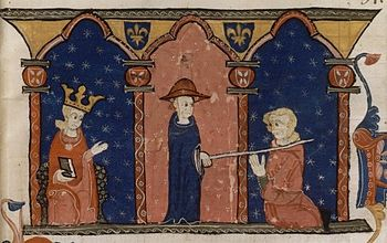 Raimund VII submits in the presence of King Louis IX.  opposite Cardinal Romano Bonaventura of the Roman Church, representation from the second half of the 13th century