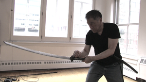 Larry Hama - Hama demonstrating sword technique while filming Ghost Source Zero
