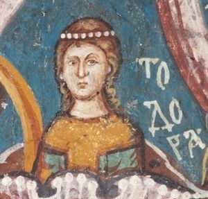 Teodora-Evdokija - Fresco painting of Teodora,  from Visoki Dečani monastery (UNESCO)
