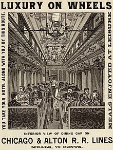 Drawing of meals being served in a dining car