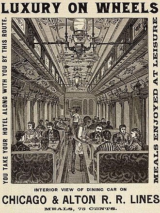Luxury train - Illustration from 1885 Chicago & Alton Railroad timetable