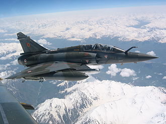 Fighter-bomber - A French Air Force Dassault Mirage 2000D designed for long-range precision strikes.