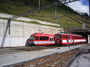 BVZ Zermatt-Bahn - Contrasting railcars at Zermatt station.