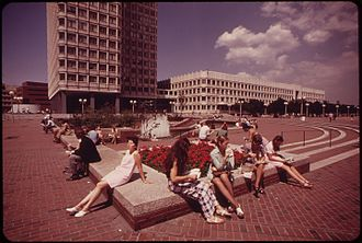 Boston City Hall Plaza - The original fountain in 1973