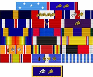 Service summary of Douglas MacArthur - A graphic representation of Douglas MacArthur's American military ribbons, as they would be displayed today.