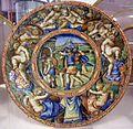 Maiolica di urbino, bottega dei fontana, presa di troia, 1550 ca.jpg