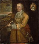 Painting of a balding man with grey hair. The man is wearing a highly decorated coat, and he is holding a staff of sorts.