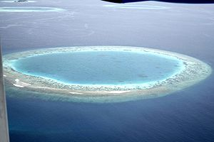 Fishing industry in the Maldives - Subsided island leaves a coral lagoon in the Maldives