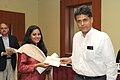 Manish Tewari presenting the 'Seema Nazareth Award' for Excellence in Print Journalism to Ms. Sushmi Dey, at a function, in New Delhi on March 13, 2013.jpg