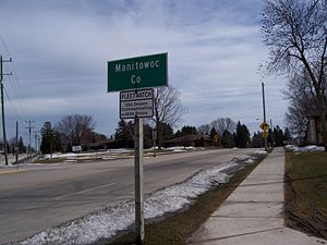 Manitowoc County, Wisconsin - Image: Manitowoc County Sign WIS57WIS32