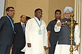 Manmohan Singh lighting the lamp to inaugurate the Civil Services Day, 2013, in New Delhi. The Minister of State for Personnel, Public Grievances & Pensions and Prime Minister's Office.jpg