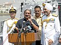 Manohar Parrikar addressing the media at the commissioning ceremony of the INS Kochi , at Naval Dockyard, in Mumbai on September 30, 2015. The Chief of Naval Staff, Admiral R.K. Dhowan is also seen.jpg