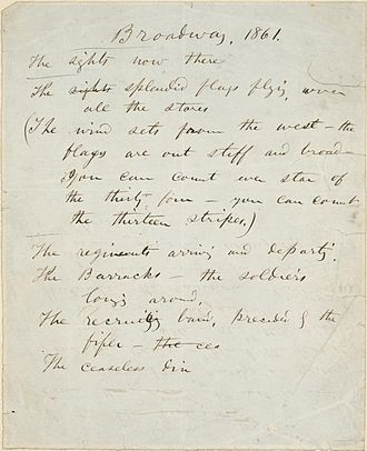 "Walt Whitman - Walt Whitman's handwritten manuscript for ""Broadway, 1861"""