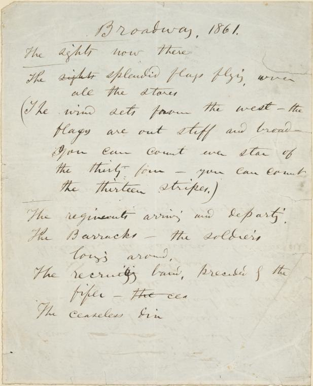 Manuscript Whitman Broadway 1861