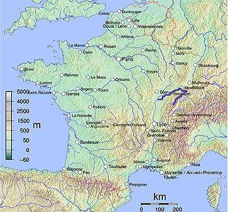 Der Flussverlauf des Doubs (hervorgehoben)