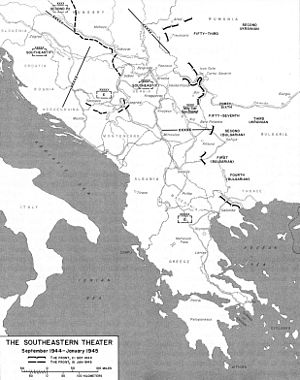 Independent Macedonia (1944) - Map of the Balkan military theater during September 1944 – January 1945.