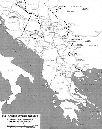 Belgrade Offensive - Map of the Balkan military theater during September 1944 – January 1945.