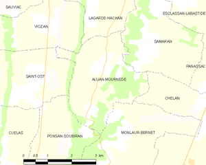 Aujan-Mournède - Aujan-Mournède and its surrounding communes