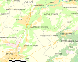 Mapa obce Auvers-Saint-Georges