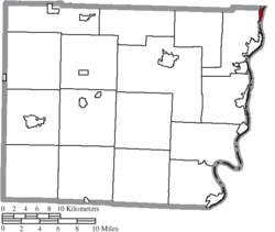 Location of Yorkville in Belmont County