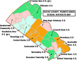 Map of Bucks County Pennsylvania School Districts.png
