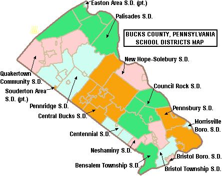 Map of Bucks County Pennsylvania School Districts