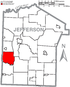 Map of Jefferson County, Pennsylvania Highlighting Beaver Township.PNG