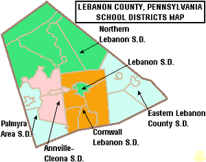 Lebanon County, Pennsylvania - Map of Lebanon County, Pennsylvania School Districts