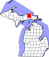 State map highlighting Luce County