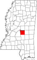 Map of Mississippi highlighting Scott County