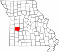 Map of Missouri highlighting St. Clair County.png