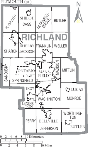 Richland County, Ohio - Map of Richland County, Ohio With Municipal and Township Labels