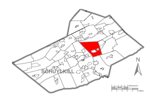 Blythe Township, Schuylkill County, Pennsylvania - Image: Map of Schuylkill County, Pennsylvania Highlighting Blythe Township