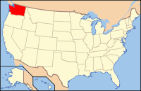 Map of the USA highlighting Washington