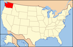 Map of the United States with واشنگتن highlighted