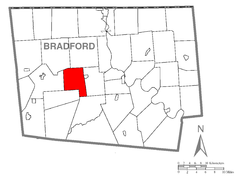 Map of West Burlington Township, Bradford County, Pennsylvania Highlighted.png