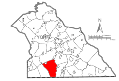 Map of York County, Pennsylvania Highlighting Codorus Township.PNG
