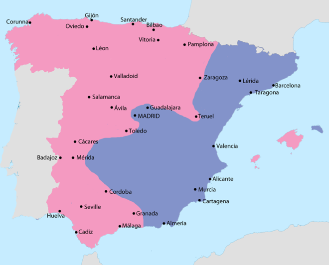 Map showing Spain in October 1937: