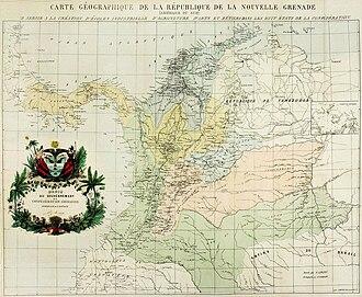 Colombian Civil War (1860–1862) - Image: Mapa de la Confederación Granadina (1858)