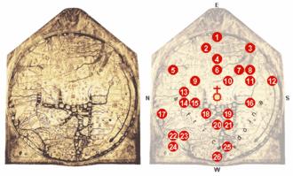 Hereford Mappa Mundi - Locations on the Hereford mappa mundi