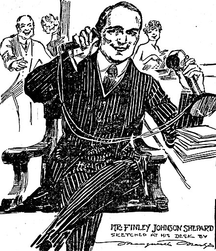 Cartoon by journalist Marguerite Martyn shows a man using a candlestick telephone, 1917. Marguerite Martyn sketch of Finley Johnson Shepard at his desk being congratulated on his engagement to Helen Gould, 1917.jpg