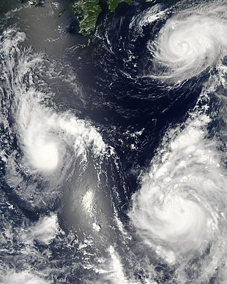 Tropical cyclone - Three tropical cyclones of the 2006 Pacific typhoon season at different stages of development. The weakest (left) demonstrates only the most basic circular shape. A stronger storm (top right) demonstrates spiral banding and increased centralization, while the strongest (lower right) has developed an eye.