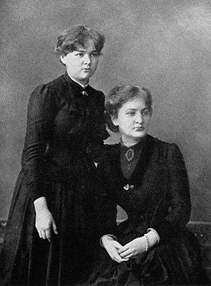 Marie Curie - Maria Skłodowska (left) with sister Bronisława, ca. 1886