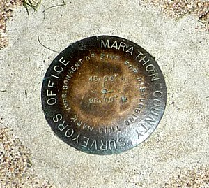 45×90 points - Close up of the incorrectly placed marker in Marathon County, Wisconsin, United States
