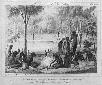 Mildura - William Blandowski's 1857 depiction of Jarijari (Nyeri Nyeri) people including men hunting, women cooking and children playing near Merbein, Victoria. A form of kick and catch football is apparently being played in the background.